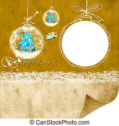 Photoframe Christmas background with Christmas balls and...