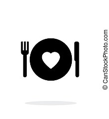 Romantic dinner icon on white background.