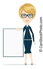Cartoon teacher or businesswoman explaining and pointing at...