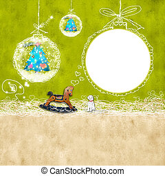Kids Christmas photoframe - Christmas background with...