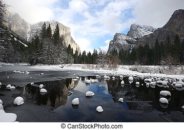 yosemite winter snow - valley view at yosemite national park...