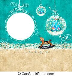 Babys Christmas card with photoframe - Christmas background...