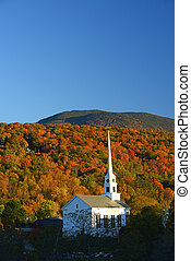 stowe church autumn - a church in autumn at stowe, vermont
