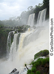 Iguazu waterfall in south americal tropical jungle with a...