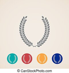 set of vector icons with laurel wreaths