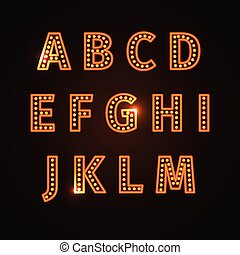 retro glowing font - Alphabet set with realistic lamp,...