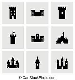vetorial, castelo, ícone, jogo,