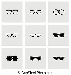 Vector glasses icon set on grey background