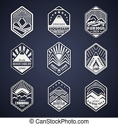 Mount badge set1white - Set of alpinist and mountain...