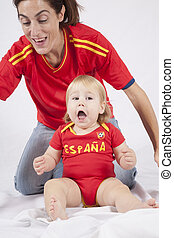 celebrating baby spanish soccer fan - celebrating blonde...