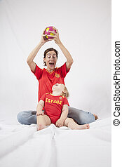 family spanish soccer fans - blonde baby sixteen month old...