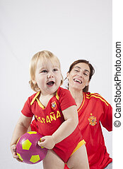 family team spanish soccer fan - smiling blonde baby sixteen...