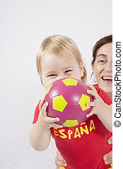 happy family spanish soccer fan - happy blonde baby sixteen...