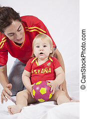 surprised baby spanish soccer fan - surprised face blonde...