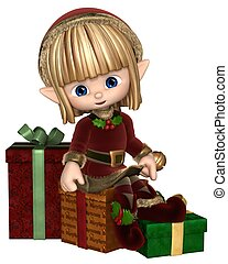 Cute Toon Christmas Elf with Gifts