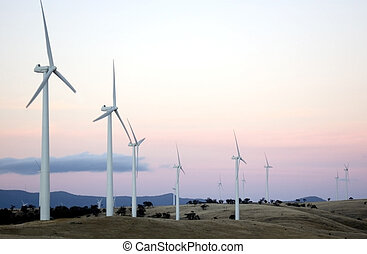Wind Farm at Sunset - Wind generators sit separated along...