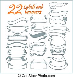 Lables and rbanners - vector set. - 22 Lables and rbanners -...