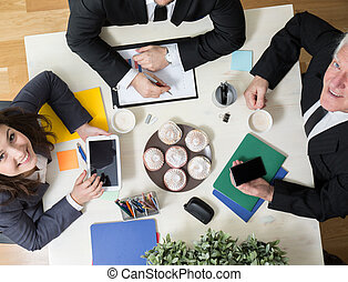 Kindly atmosphere during business meeting - Horizontal view...