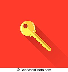 vintage illustration of a key in flat style with long shadow
