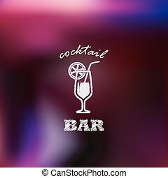 vintage illustration with cocktail. bar sign