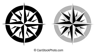 Vector illustration of compass, black and white