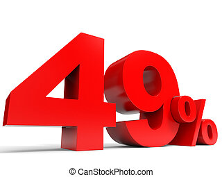 Red forty nine percent off. Discount 49%. 3D illustration.