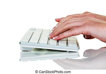 mulher, em, escritório, com, laptop, computador, com,...