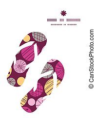 Vector abstract textured bubbles flip flops silhouettes...