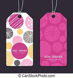Vector abstract textured bubbles vertical round frame pattern tags set