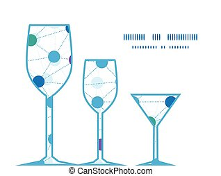 Vector connected dots three wine glasses silhouettes pattern...