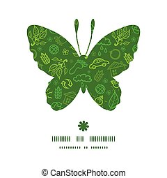 Vector ecology symbols butterfly silhouette pattern frame...