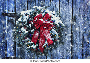 Rustic Christmas Wreath - Rustic Christmas wreath on old...