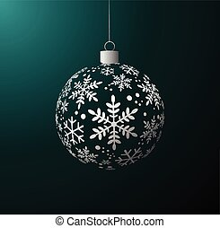 Vector Christmas ball on green back