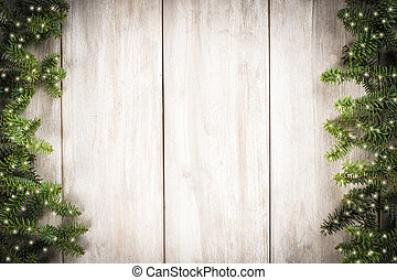 Christmas card background with a space for text on a wooden...