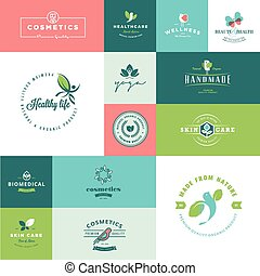 Flat design beauty and nature icons