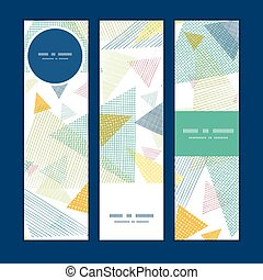 Vector abstract fabric triangles vertical banners set...