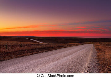 Country gravel road horizon - Country horizon skyline down a...
