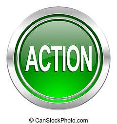 action icon, green button
