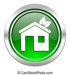 house icon, green button, ecological home symbol