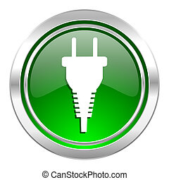 plug icon, green button, electric plug sign