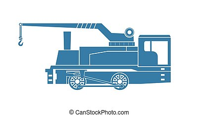 Crane tank. Steam locomotive. Vector illustration.