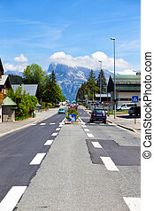autobahn - road through the town in the French Alps