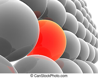 red ball - 3d rendered illustration of one red and many grey...
