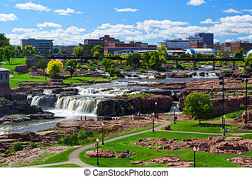Falls Park - Sioux Falls, SD - View of the beautiful...