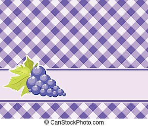 Checkered purple background with grapes. Vector. tablecloths