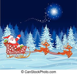 Santa Claus in Sled - Illustration of Santa Claus in his...
