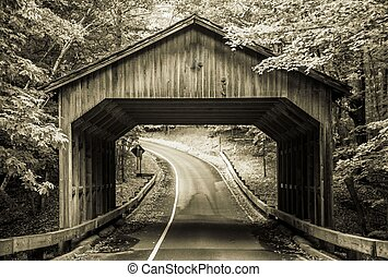 Vintage Covered Bridge - Covered bridge on the Pierce...
