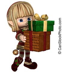 Cute Toon Xmas Elf Carrying Gifts