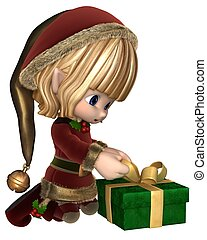 Cute Toon Xmas Elf Wrapping Gift