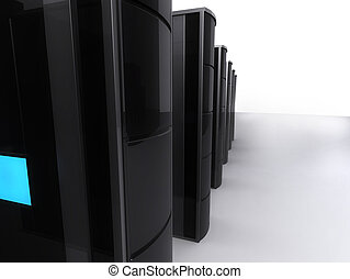 servers - 3d rendered illustration of severs standing in a...